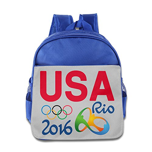 ANULRICA Boys Girls Toddler USA Logo 2016 Rio Summer Olympics Brazi Logo School Bag RoyalBlue