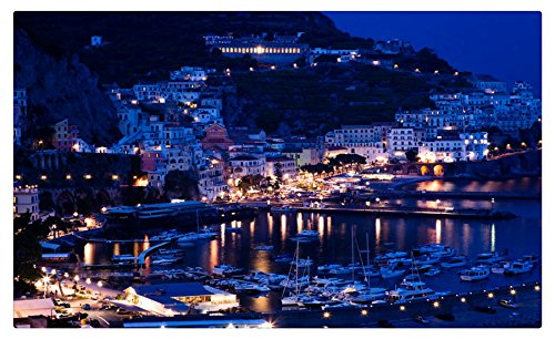 Italy Houses Marinas Night Sorrento Positano Cities travel sites Postcard Post card