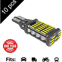 LED Monster 10-Pack Extremely Bright Brake Lights 45SMD T10 T15 194 921, 45 Chipsets, Xenon White, 1600 Lumens, No Hyper Flash