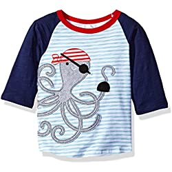 Mud Pie Baby Boys' Raglan T-Shirt, Pirate Octopus, 12-18 Months