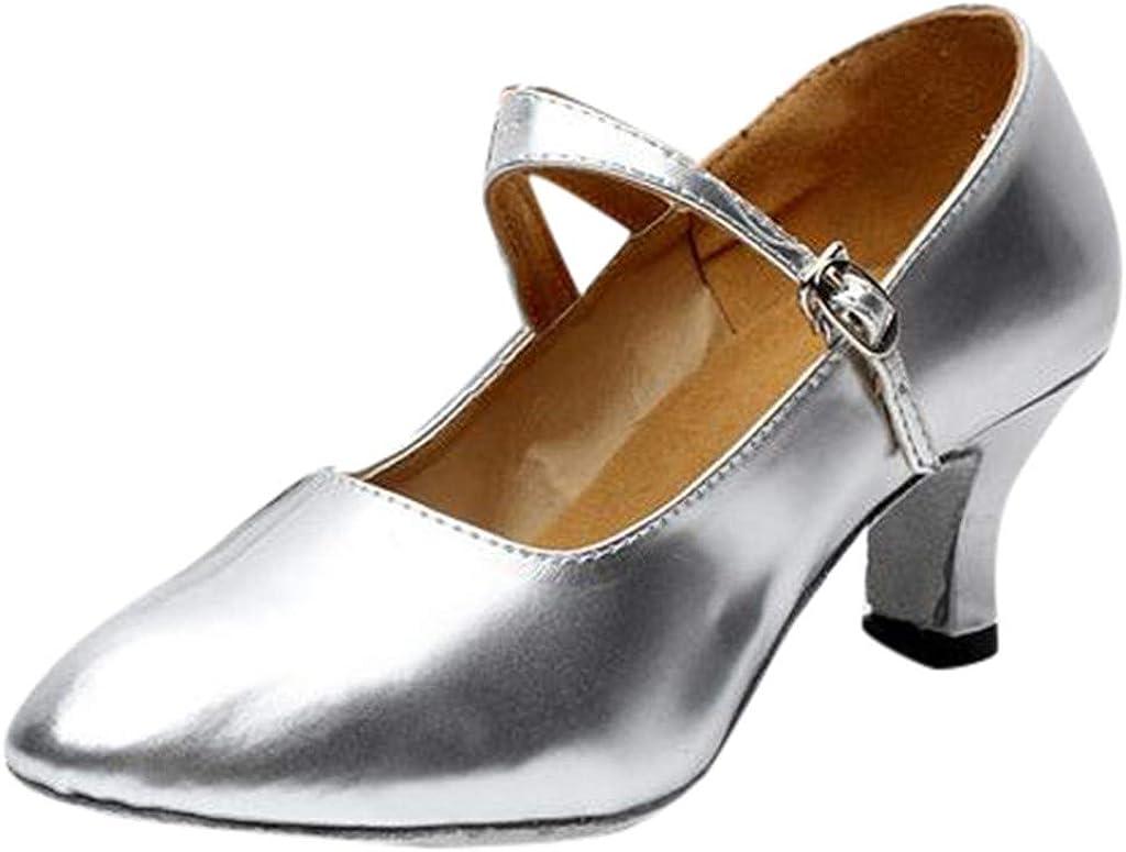 Darringls_Sandalias de Primavera Verano Mujer,Zapatos de Baile de Salsa de Tango Zapatos de Baile Latino para niña Zapatos de satén para medianos Talones Cinturón de Cruz