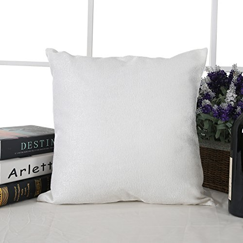 Deconovo Marble Printed Pattern Luxury Polyester Cotton Texture Handmade Pillow Case Cushion Cover with Invisible Zipple for Naps 18X18 Inch White No …