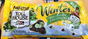 Nestle Toll House Winter Theme (Dark Chocolate and Mint) Baking Morsels Chips 10oz Bag (Pack of 6)