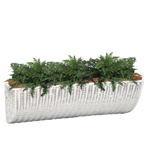 DMC Products 30-Inch Resin Wicker Wall Basket, White (Dmc Flower)