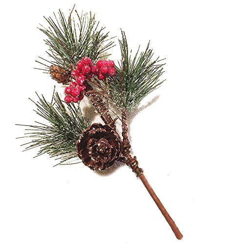 christmas pick pine needle w snow 12 inch christmas flowers floral