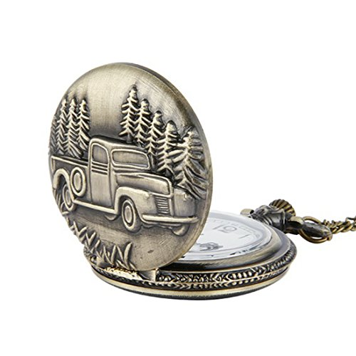 WZC Car Quartz Movement Men's Pocket Watch with Chain and Gift box