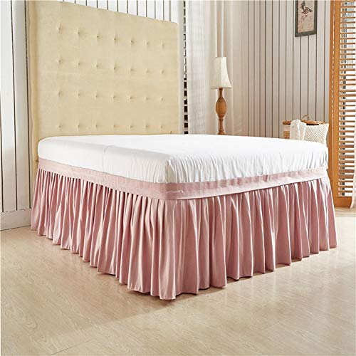 (BERTERI Pink Solid Color Wrap Around Solid Ruffled Bed Skirt Twin Queen King Size Polyester Fabric Soft)