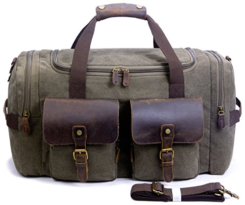 e9f283a949 SUVOM Canvas Holdall Weekend Bag Overnight Bag Leather Travel Duffle Bag  Carry On Luggage - Buy Online in Oman.