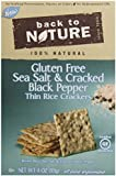 Back To Nature Crackers, Rice Thins, Sea Salt & Cracked Black Pepper, 4 Ounce