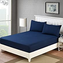 Fitted Sheet Queen Deep Pocket Microfiber Wrinkle and Fade Resistant (Blue, Queen)