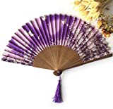 Purple Japanese Chinese Luxurious Silk Fold Hand Fan Butterfly Flower Print Portable Pocket Mini Fan Wedding Party Fan
