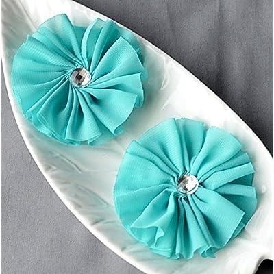 12 Teal Blue Rhinestone Ballerina Twirl Flower Soft Fabric Silk Chiffon Flower Bridal Wedding Garter Baby Headband SF142