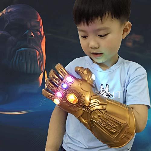 Thanos Infinity Gauntlet LED Light Up PVC Glove Cosplay Prop Costume for Halloween Party (Kids Version) -