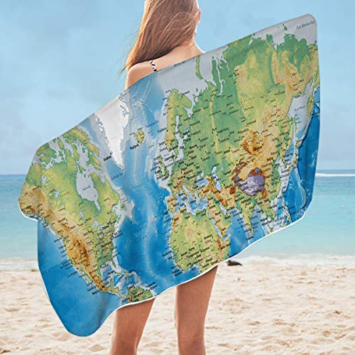 Sleepwish World Map Bath Towels Blue 3D Kids Beach Towels Shower Towel Boys Girls Decorative Bathroom Towel (30x60 inch)