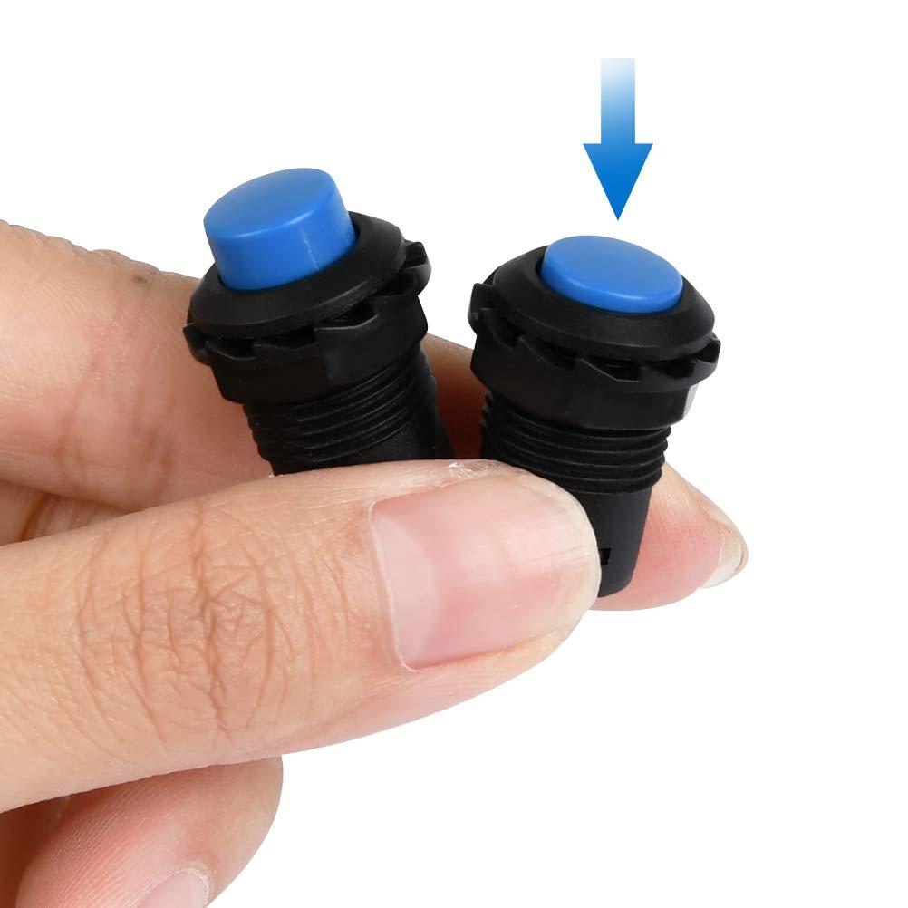 BUYGOO 18 Piezas Interruptor de Bot/ón Pestillo de Pl/ástico Bricolaje 12 mm Mini Impermeable Bot/ón Pulsador 6 Colores interruptores de Enclavamiento Encendido y Apagado