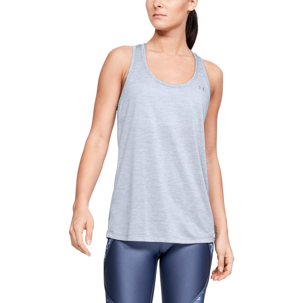 Under Armour Women's Tech Twist Tank Top, Blue Heights (448)/Metallic Silver, Large by Under Armour