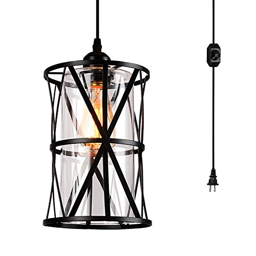 HMVPL Swag Lights with Plug in Cord and On/Off Dimmer Switch, New Transitional Hanging Pendant Lamps with Clear Glass Lampshade for Dining Room, Bed - Lamps Plug Pendant In