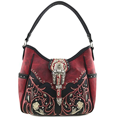 Justin West Tooled Laser Cut Leather Floral Embroidery Rhinestone Buckle Studded Shoulder Concealed Carry Tote Style Handbag Purse (Red Black Purse)