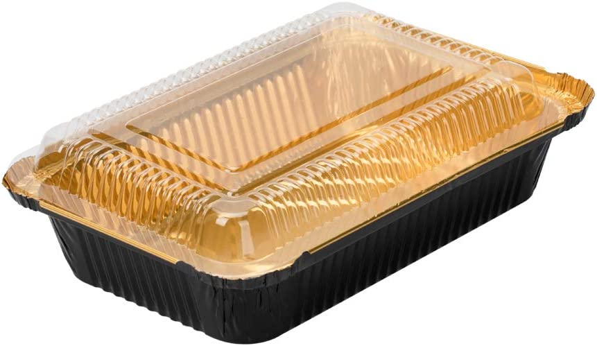 Foil Lux Rectangle Clear Plastic Lid - Fits 27 oz Container - 8
