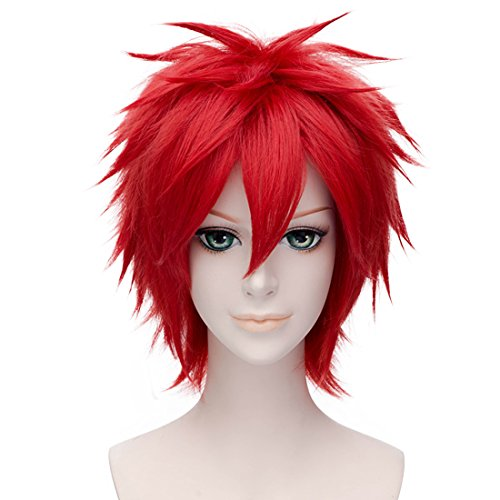 Alacos Unisex Short Spiky Natural Soft Sexy Daily Party Costumes Synthetic Anime Cosplay Wig + Free Wig Cap (Red)]()