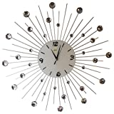 Sunburst Wall Clock Black Metal Shape With Crystals Decorative White Glass Dial 27''inch