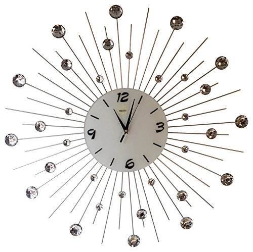 "Cheap Sunburst Wall Clock Black Metal Shape With Crystals Decorative White Glass Dial 27""inch"