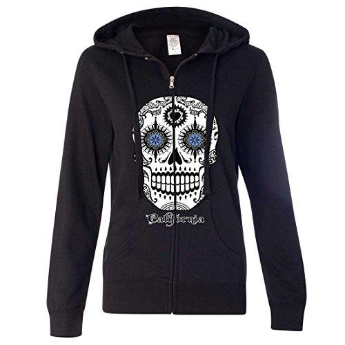 California Republic Sugar Skull Ladies Zip-Up Hoodie - Black XX-Large]()