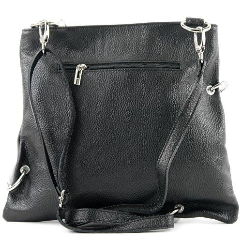 modamoda de - ital. Ledertasche Damentasche Messengertasche Umhängetasche 2in1 Leder T140 Schwarz/Weiß ZRl8X6Q3T3