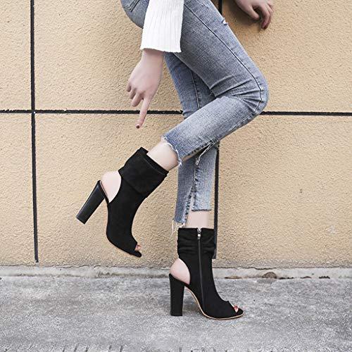 Pour Noir Été 2019 Romaines À Dames Mode Chaussures Femme Pantoufles Hauts Carrées Sandales Talons Manadlian Poissons q6wZvx8Z
