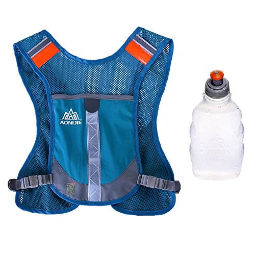Premium Reflective Vest Give Sport Water Bottle as Gift for Running Cycling Clothes for Women Men Safety Gear with Pocket 3M Scotchlite with Reflective High Visibility (Blue)
