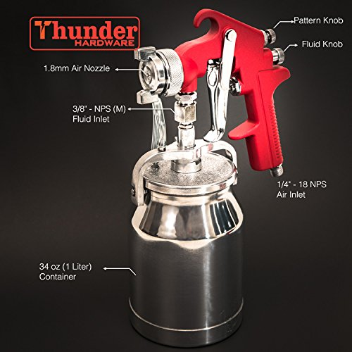 Thunder Hardware 4001J 34 oz Siphon Feed Spray Gun - 1.8mm Nozzle for a variety of low viscosity paints, such as lacquer, enamel, stain, urethane with air flow and paint pattern control knob by Thunder Hardware (Image #5)