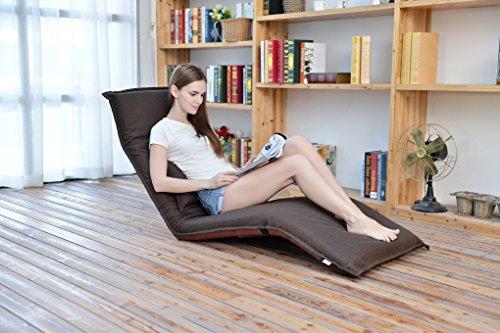 e-joy Folding Lounge Floor Sofa Relaxing Folding Futon Chair C2, Brown
