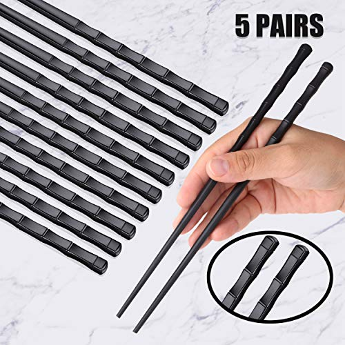 - Omia 5 Pairs Fiberglass Chopsticks - Reusable Chopsticks Dishwasher Safe Chopsticks Alloy Chop Sticks Utensil Gift Set (Bamboo Design - Black)