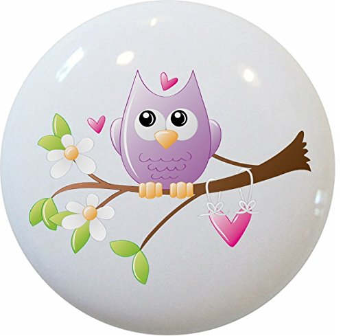 Carolina Hardware and Decor 2221 Whimsical Owl on Limb Ceramic Cabinet Drawer Knob (Drawer Knobs Whimsical)
