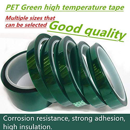 Anncus 5 Rolls Width 30mm x 33m PET Green Silicone Film high Temperature Adhesive Tape,Green Polyester Tape Powder Coating High Temp by Anncus