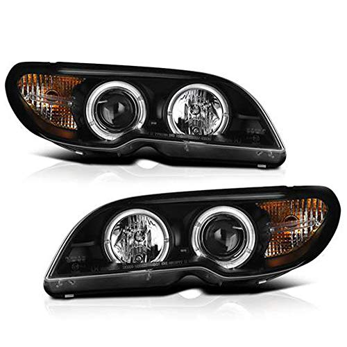 ACANII - For 2004-2006 BMW E46 3-Series Coupe LED Halo Black Projector Headlight Headlamp Assembly, Driver & Passenger