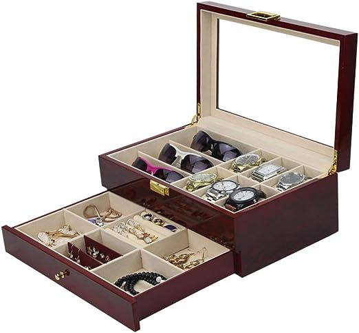 Caja de madera para reloj con cajón, caja organizadora de 6 ...