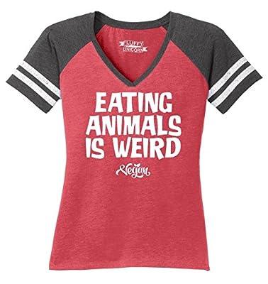 Comical Shirt Ladies Eating Animals is Weird Vegan Game V-Neck Tee