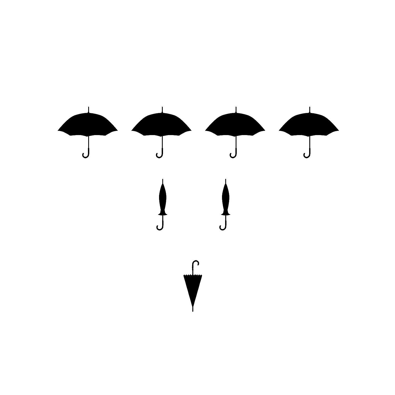 傘パターン – 10セット、60、アイコン、ブラック – ビニール壁アートデカールホーム、オフィス、子供の部屋の寄宿舎、学校、高学校、大学、大学、内部設計者、建築家、Remodelers   B00QWB1BOU
