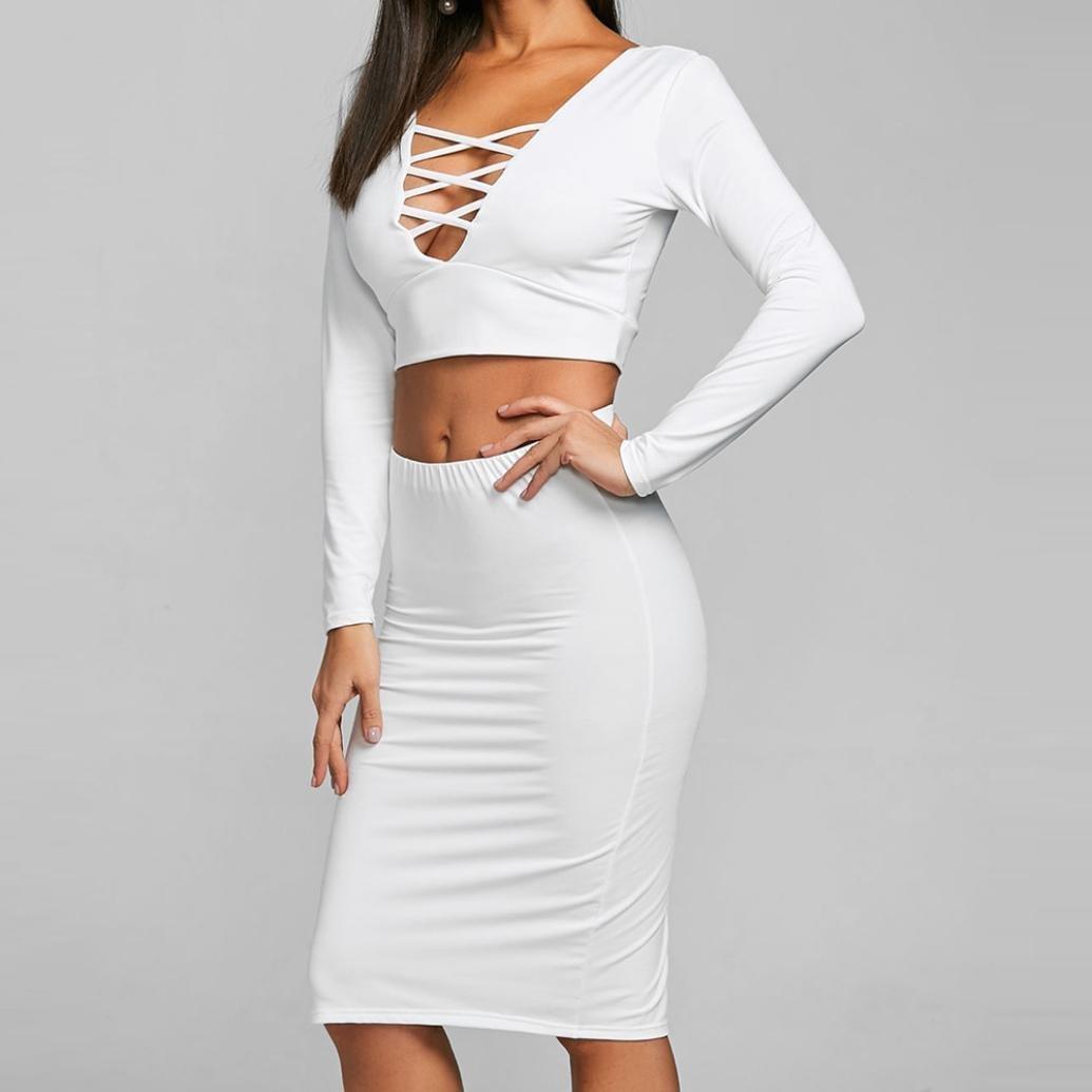 Amazon.com: Gyoume Tops - Falda de manga larga para mujer ...