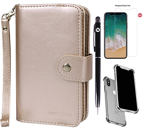 xhorizon FLK [Upgrade] 2 in 1 Magnetic Car Mount Phone Holder Compatible Folio Leather Wallet Case for iPhone X / iPhone 10 with Clear TPU Back Case / 9H Tempered Glass Film and Bonus 2 in 1 Stylus from xhorizon