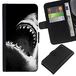 EJOY---La carpeta del tirón la caja de cuero de alta calidad de la PU Caso protector / Sony Xperia Z3 D6603 / --mandíbulas de tiburón surf blanco negro de surf
