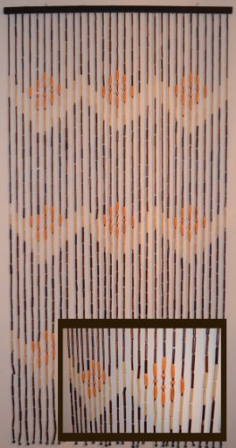 """Natural Bamboo & Wood Beaded Curtain, W Pattern , 35.25"""" W X 70"""" H Item # 69-719"""