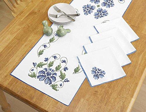 Herrschners® Garden in Blue Table Runner & Napkins Stamped Cross-Stitch