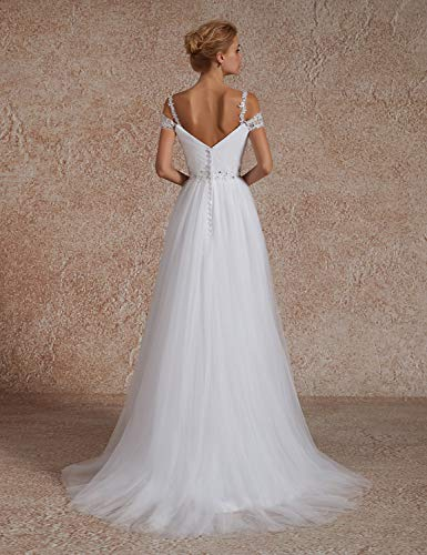 69640eb78ff OYISHA Women s A-line Off Shoulder Beaded Wedding Dresses for Bride 2019  102WD Ivory 18W