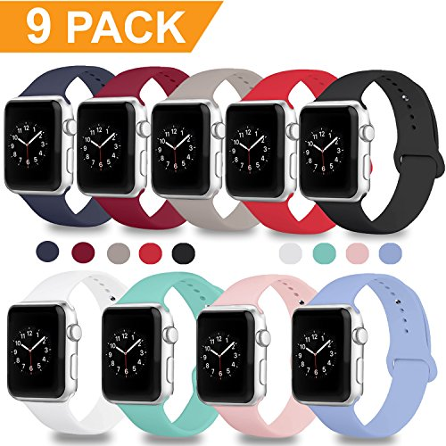Band for Apple Watch 38mm 42mm, iWatch Bands Soft Silicone Replacement Strap Sport Band for Apple Watch Series 3 2 1 Nike+ Edition, S/M M/L, 9/8/6PACK (Apple Watch Bands 38mm, 9PACK, 38mm S/M)