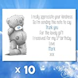 10 x Personalised children birthday thank you for my gifts Cards/Me to you kids guess Postcard Thanks Gift Novelty Keepsake Memory Game Personalised Any Size Any Colour Any Text A4 A5 A6 A7