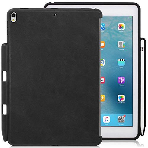 KHOMO - iPad Pro 10.5 Inch Black PU Leather Case With Pen Holder - Companion Cover - Perfect match for Apple Smart keyboard and Cover (Black Keyboard Leather)