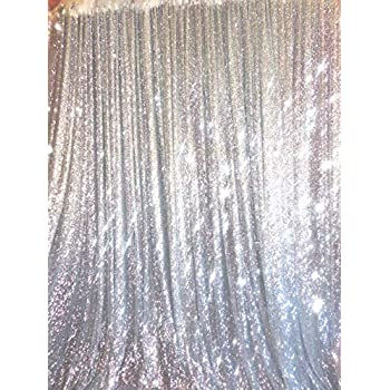 TRLYC 20 Ft X 10 Silver Sequins Backdrop Curtain