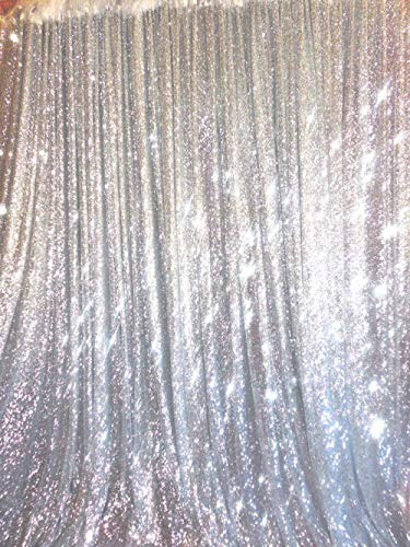 TRLYC 4 Ft X 6.5 Ft Silver Sequins Backdrop Curtain by TRLYC